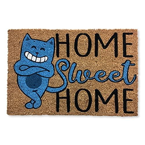 KOKO DOORMATS Zerbino Ingresso casa   Tappeto ingresso casa divertenti 'CAT HOME SWEET HOME' in fibra di cocco e base tappeto antiscivolo da PVC   Zerbini per ingresso esterno con misure 40x60x1,5 cm.