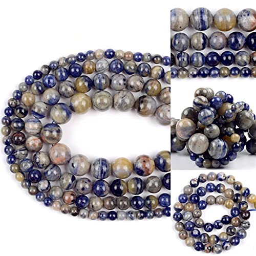 YELVQI Piedra Natural 6-12mm LMPorted Azul Sodalito Piedra Natural Separador Suelto Perlas espaciadoras para joyería Hacer Pulseras DIY Collar Accesorios Hechos a Mano (Color : 6mm 61pcs Beads)