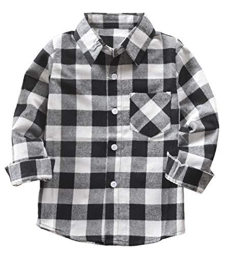 Kids Little Boys Girls Baby Long Sleeve Button Down Red Plaid Flannel Shirt Plaid Girl Boy NB-6T(12-18 Months, White Black)