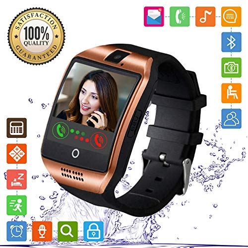 FENHOO Reloj Inteligente Bluetooth, con Pantalla táctil, Ranura para Tarjeta SIM, para Llamadas, Mensajes, podómetro, Compatible con Android, iOS, iPhone, para Hombres, Mujeres y niños