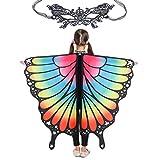 Butterfly Wings for Girls Kids Halloween Costume Fairy Shawl Festival Rave Dress (Kids(rainbow))