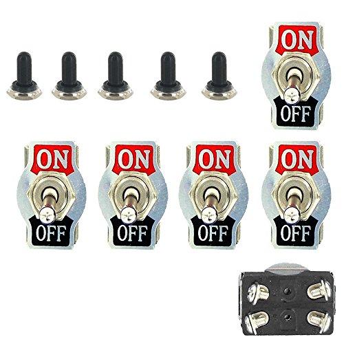 E Support™ 5 X 20A 125V 15A 250V Kippschalter Schalter Wippschalter DPST 4-Polig EIN/AUS Metall Mit wasserdicht Schutzkappe