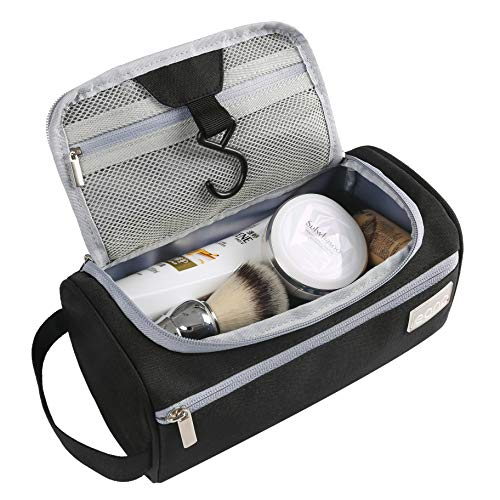 Eono Essentials Hanging Travel Toiletry Bag Overnight Wash Gym Shaving Bag for Men and Women Black