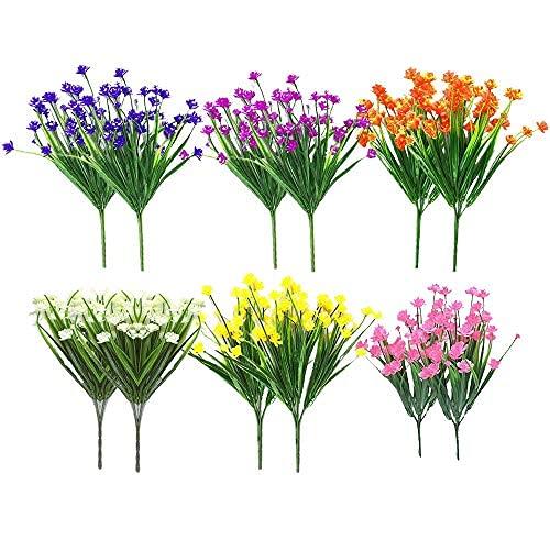 Artificial Fake Flowers 12 Bundles of 6 Colors Outdoor UV Resistant Greenery Shrubs Plants Indoor...