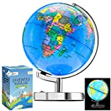 Little Chubby One 13 Inch (9 Inch Dia) Illuminated LED World Globe for Kids & Adults - STEM - Colorful Informative Easy to Read Light Up Globe Lamp with Stand for Learning Education and Night Light