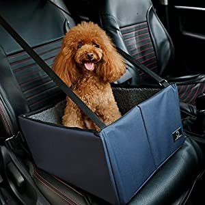 A4Pet Dog Car Seat Dog Booster Seat for Small and Medium Dog,Deep Blue,16″ D x 15″ W x 8″ H
