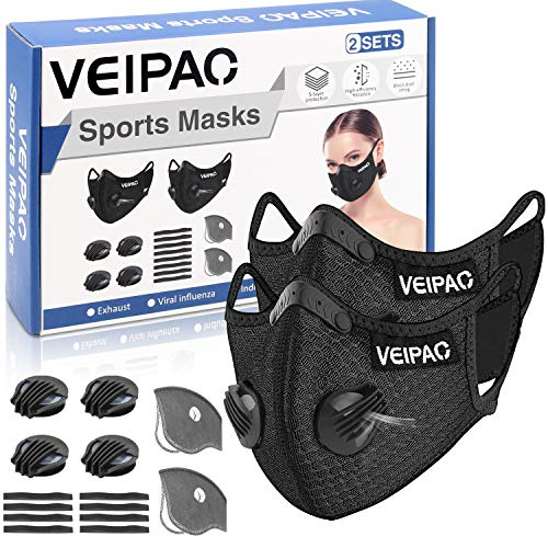 VEIPAO 2 Sets Sports Mask Running Mask with Activated Carbon Filter, 2 Extra Filters, 4 Breathing Valve, 8 Soft Foam Padding for Running Walking, Cycling, Motorcycle