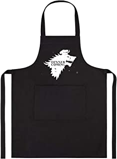 ENBOVE Chef Aprons for Women,Dinner is Coming Professional for Cooking,BBQ,Baking, Funny Grill Aprons Kitchen Chef Bib Gift Ideas for Mom,Wife,Girlfriend,Black,One Size