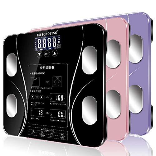 USB Oplaadbare Body Fat Scale weegschaal Household Meten elektronische weegschaal vet schaal Nauwkeurige weegschaal Chinese Verison (Color : Black)