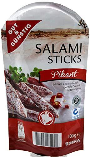 Gut und Günstig Salami Sticks Pikant, 4er Pack (4 x 100g)