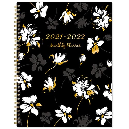 2021-2022 Monthly Planner - 18-Month Planner with Tabs & Double Side Pocket & Label, Contacts and Passwords, Floral Calendar Planners, Jul 2021 - Dec 2022, 9'x 11', Twin-Wire Binding