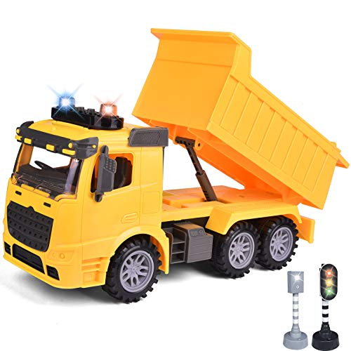 FUN LITTLE TOYS Construction Truck Toys with Street Signs, Friction Powered Dump Truck Toy with Sound & Light, Construction Toy Vehicle, Toy Trucks for Boys Age 2,3,4,5