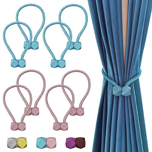 TmppDeco Magnetic Curtain Tiebacks - 8 Pack Curtain Holdbacks Strong Magnetic Curtain Holdbacks, NO Drilling,Punch-Free, Decorative Window Drape Twist Curtain Ropes for Home and Office (Blue & Pink)