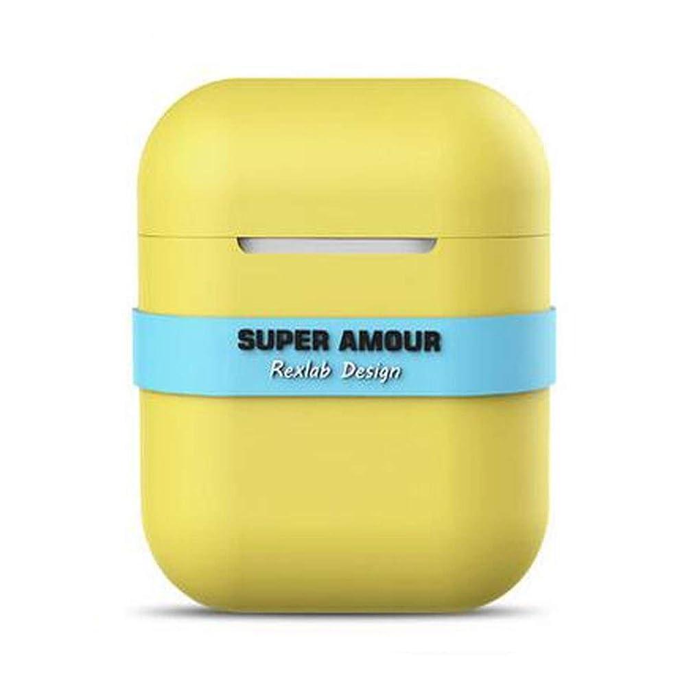 可動ブル気難しいヘッドフォンセット、シリコンイヤホンスリーブ、防滴ワイヤレスBluetoothヘッドセット収納ボックス、紛失防止ストラップアクセサリー、ブラック、イエロー、ピンク (Color : Yellow)