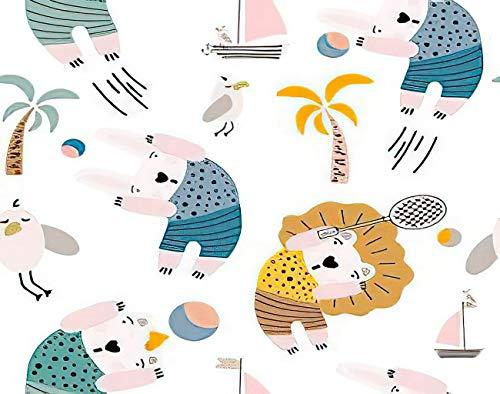 Y·JIANG Bonita pintura por números, dibujos animados coloridos de animales jugando en la playa, lienzo acrílico al óleo por números para adultos y niños, decoración de pared del hogar, 40,6 x 40,6 cm