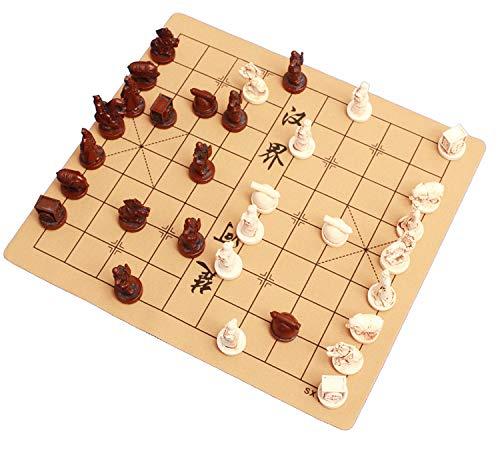 DGN Traditionelle Chinesische Schach Travel Set, 3D-Terrakotta-Krieger Stil Xiangqi, Harz Handgemachte Schachfiguren mit Leder Schachbrett, Geschenke für erfahrene Spieler