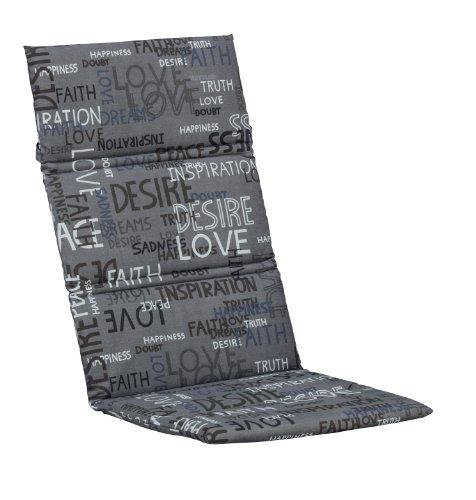 Kettler Sesselauflage für Hochlehner – komfortable Stuhlauflage mit Quersteppung und Schrift-Muster – 120 cm hohe Polsterauflage aus Baumwolle und Polyester – grau, weiß & schwarz