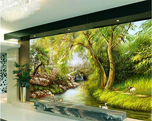 Hintergrundbild 3D Wallpaper Wohnzimmer Große Tapete Fluss Trauerweide Landschaft handgezeichnete Gemälde Wandaufkleber Dekoration 3d Wallpaper Wandbild