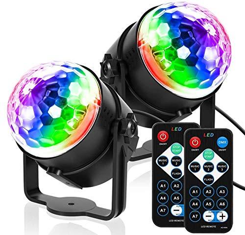 HXCD 2er Pack Disco Lights Disco Ball Party Lights Sound aktiviert, Blitzlichter DJ Light Rotierender Spiegelball Lichteffekt für Kinder Halloween Weihnachten Geburtstag Disco Partys Tanz Karaoke