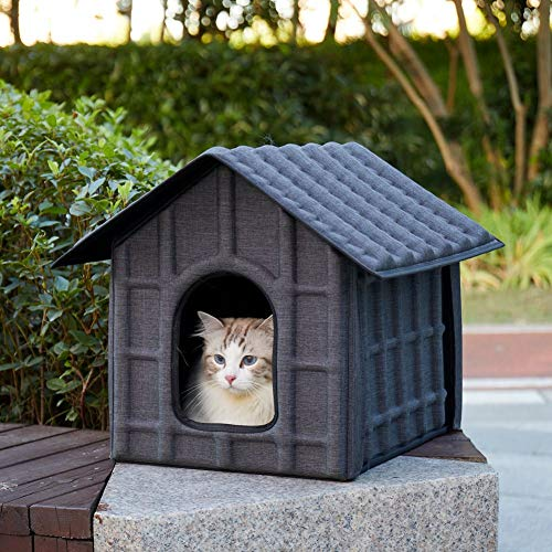 Fooubaby Exterior Cat House Foldable for Large Small Multiple Cats, Cat House Outdoor Insert with Heating Mat Bed, Door Flap and Ramp Roof Weatherproof for Winter Cats (Gray)