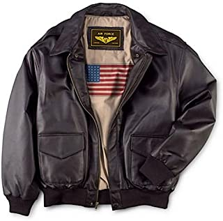 Men's Air Force A-2 Leather Flight Bomber Jacket (Regular and Big & Tall)