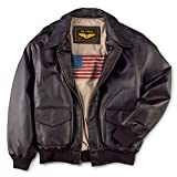 Landing Leathers Men's Air Force A-2 Leather Flight Bomber Jacket Distressed Brown Large