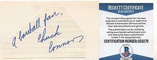 Chuck Connors Brooklyn Dodgers Rifleman Signed 3x5 Index Card Beckett G62276 - Beckett Authentication
