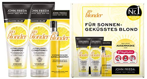 John Frieda Go Blonder Vorteils-Set für blondes Haar - Shampoo, Conditioner, Aufhellungsspray & gratis MegRhythm Augenmaske - Hellt stufenweise auf - Auch für farbbehandeltes Haar, 600 ml