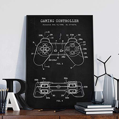 wtnhz Kein Rahmen Gaming Controller Blueprint Art Poster Patentdrucke Gamer Geschenke AME Room Decor Gamepad Videospiel Joystick Art Painting Picture
