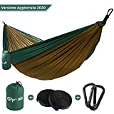 Glymnis Amaca da Giardino Amaca da Campeggio capacità di Carico 300kg con Kit di Fissaggio Tessuto 210T 275x140 cm per Campeggio Giardino Escursioni Verde