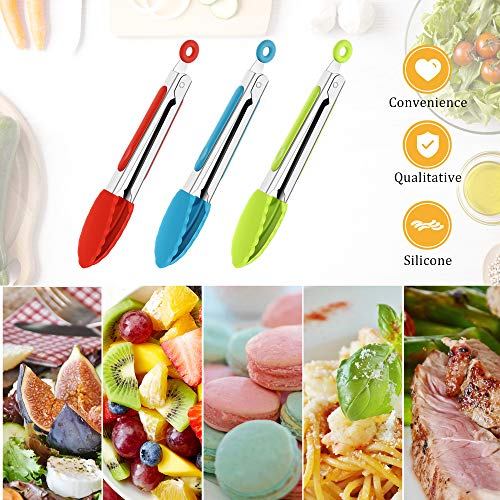 7 Inch Silicone Tongs Mini Kitchen Tongs with Silicone Tips Small Serving Tongs Stainless Steel Cooking Tongs for Salad, Grilling, Frying and Cooking (Red, Green, Blue,3 Pieces)