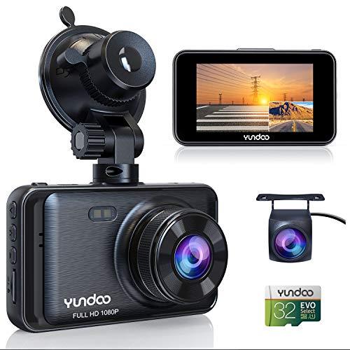 Sameriver Dash Cam Doppia Telecamera per Auto 3 Pollici FHD 1080P Visione Notturna, Registrazione in Loop, Obiettivo Grandangolare di 170°, WDR, G-Sensor con scheda SD originale da 32 GB