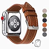 HUAFIY Compatible for Apple Watch Band 42mm 44mm, Top Grain Leather Band Replacement Strap iWatch Series 5/4/ 3/2/ 1,Sport Edition New Retro discoloured Leather