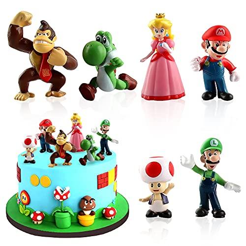 LKNBIF Super Mario Brothers Mini Figuren Set,6 Stücke Mario Kuchen Dekoration Mario Bros Actionfiguren Figuren Kuchen Dekoration Für Geburtstag Party Kinder Super Mario Figuren Mario Figuren Set