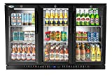 KoolMore - BC-3DSW-BK 3 Door Back Bar Cooler Counter Height Glass Door Refrigerator with LED Lighting - 11 cu.ft, Black