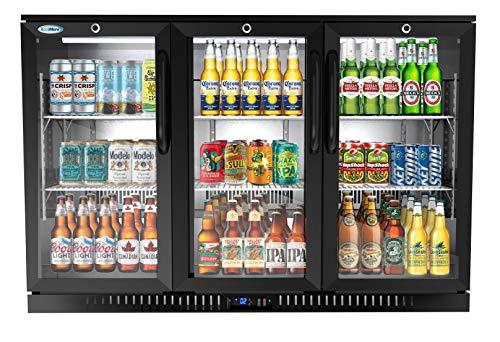 KoolMore 3 Door Back Bar Cooler Counter Height Glass Door Refrigerator with LED Lighting - 11 cu.ft, Black