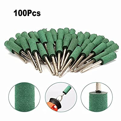 100Pcs 4mm Cylindrical Rubber Head Polishing Grinding Burr 3mm Shank Fit Rotary Tool for using on Metals, Castings, Welded Joints, Rivets and Rust
