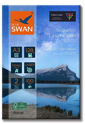 BLUE SWAN 100 Blatt A3 Superior Colour Laser Fotopapier Flyer Papier, 128g/qm, Glossy,glaenzend, beidseitig bedruckbar, Fuer allen normalen/Farblaserdruckern/Kopierern (Colour Laserdrucker)