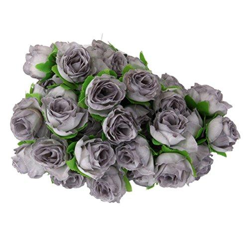ROSENICE 50 rosas artificiales para decoración de bodas (gris)