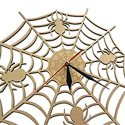 guijinpeng Wall Clocks Modern Cobweb Wall Clock in Natural Wood Halloween Nightmare Creepy Spider Wooden Wall Clock Onyx Man Cave Home Decor Gift Silent Easy to Read