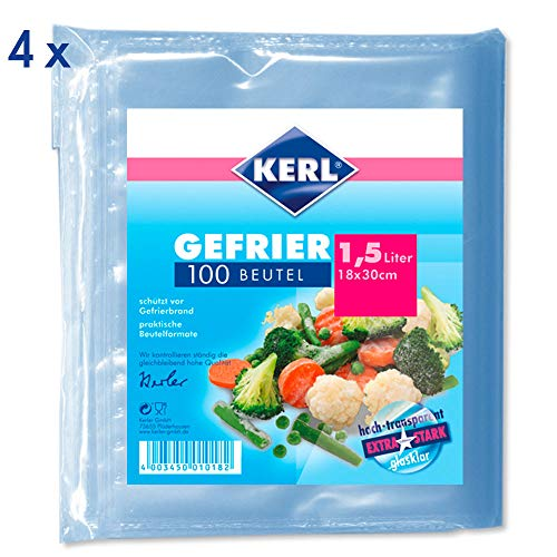 Why Should You Buy KERL Freezer Bags 1.5 L 18 x 30 cm Extra Strong PE 4 Packs of 100 Pieces