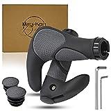 May-Kon - Puños ergonómicos para bicicleta, cuerno de manillar, goma antideslizante para una perfecta seguridad de agarre, MTB, bicicleta de ciudad, trekking, bicicleta eléctrica, universal