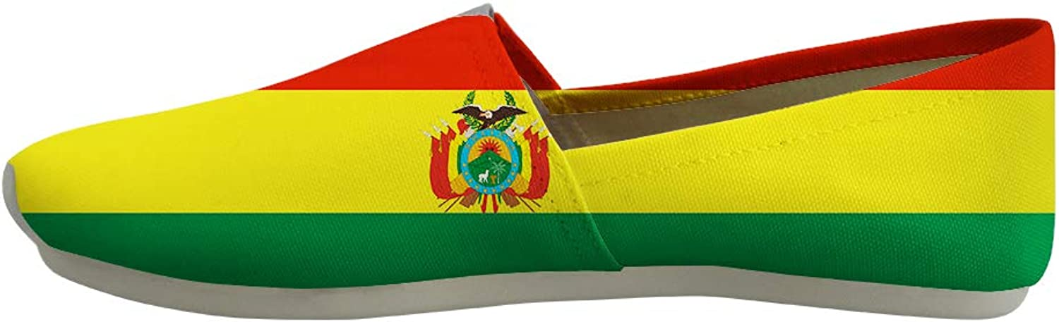 Owaheson Classic Canvas Slip-On Lightweight Driving shoes Soft Penny Loafers Men Women Bolivia Flag National Emblem