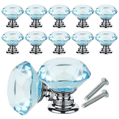YCDC Pomos de cristal para cajón de cajón con forma de diamante de 30 mm para aparador y cocina, 10 unidades, armario y armario, color azul cielo