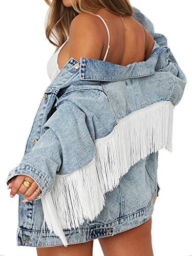 Oversized Denim Jacket for Women Festival Jean Jacket With Fringe Trimming (L, Oversized Denim Jacket With Fringe Trimming)