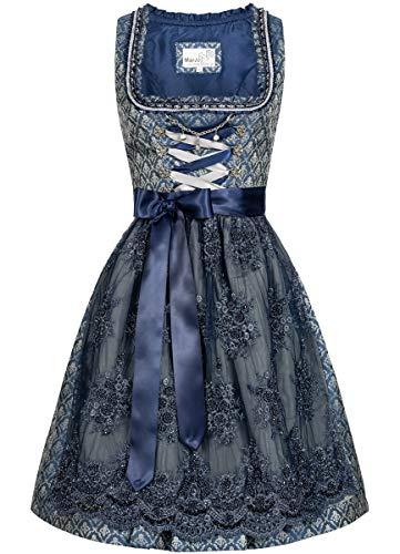 MarJo Trachten Damen Trachten-Mode Midi Dirndl Fenza in Blau traditionell, Größe:36, Farbe:Blau