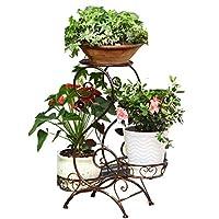 LXD 植物スタンド、ホーム植物垂直金属フラワースタンド3層庭の装飾ディスプレイ錬鉄3層の植木鉢ラック収納ラックガーデンホームオフィスの色に適した,褐色