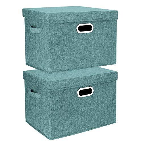 TYEERS 2er Pack Große Aufbewahrungsbox mit Deckel und Griff, Faltbarer Aufbewahrungsboxen in Würfelform Waschbar - Aqua Deep