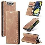 FMPC Handyhülle für Samsung Galaxy A80/A90 Premium Lederhülle PU Flip Magnet Hülle Wallet Klapphülle Silikon Bumper Schutzhülle für Samsung Galaxy A80/A90 Handytasche - Braun