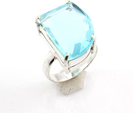 Costume Jewellery Aqua Chalcedony Fashion Jewelry Silver Plated Ring S28228